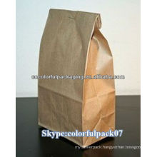flat bottom coffee packaging bag/Kraft paper coffee bag/glassine paper bag