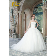 ED Bridal New Popular Ball Gown Sweetheart Strapless sem mangas Lace-up Vestidos de noiva com laço aplicado em 2017