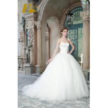 ЭД новые популярные бальное свадебное платье без бретелек рукавов кружева-up свадебные платья с кружевом аппликация 2017