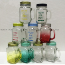 OEM 3D Handle Cup Glass Mug with Metal Cover