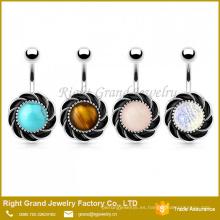 Turquesa de piedra semipreciosa del acero quirúrgico, anillo del botón del ombligo del ojo del tigre