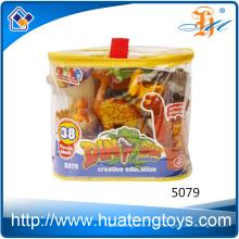 Juguete diy de los bloques huecos del dinosaurio del producto 63pcs de la venta caliente