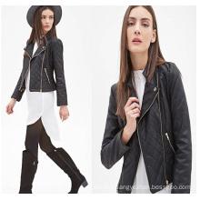 OEM High Quality Long Sleeve Zippered Women Leather Jacket