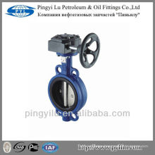 Wafer center line cast iron soft sealing worm butterfly valve dn250