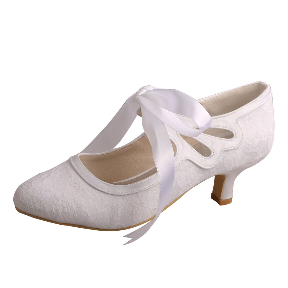 Low Heel Lace Bridal Shoes 4