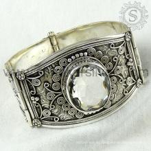 Alta calidad de cristal de piedras preciosas de plata brazalete 925 joyas de plata esterlina joyas hechas a mano mayorista