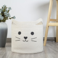 Кошка Хлопковая веревочная корзина для хранения домашних игрушек
