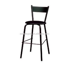 Черный стальной трубный барный стул Металлическая спинка для продажи
