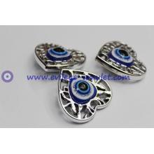 Heart-shaped resin pendant evil eye charm