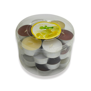 Colored and scented tea light candle in metal cups making
