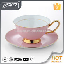 Tasse à thé en porcelaine en gros personnalisée et soucoupe
