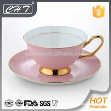 Custom design wholesale porcelain tea cup and saucer