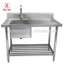 Gewerbliche freistehende Edelstahl 1 Ein-Kammer-Waschbecken mit Drainboard