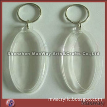 Ellipsoidal clear acrylic/lucite key chain/key ring
