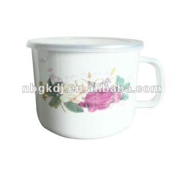 enamel mug with PP lid and SS rim