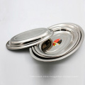 large size 16inch silver stainless steel oval food platter tray for restaurant