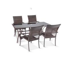 Exportación PE de mimbre al aire libre comedor redondo muebles