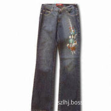 Jeans with Five Pockets, Metal Label and Flower Embroidery, Suitable for Women,