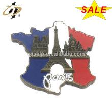 Atacado personalizar Paris esmalte de metal ímãs pinos de geladeira