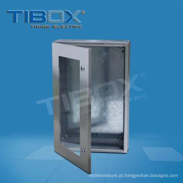 Caixa de aço inoxidável com porta vidrada