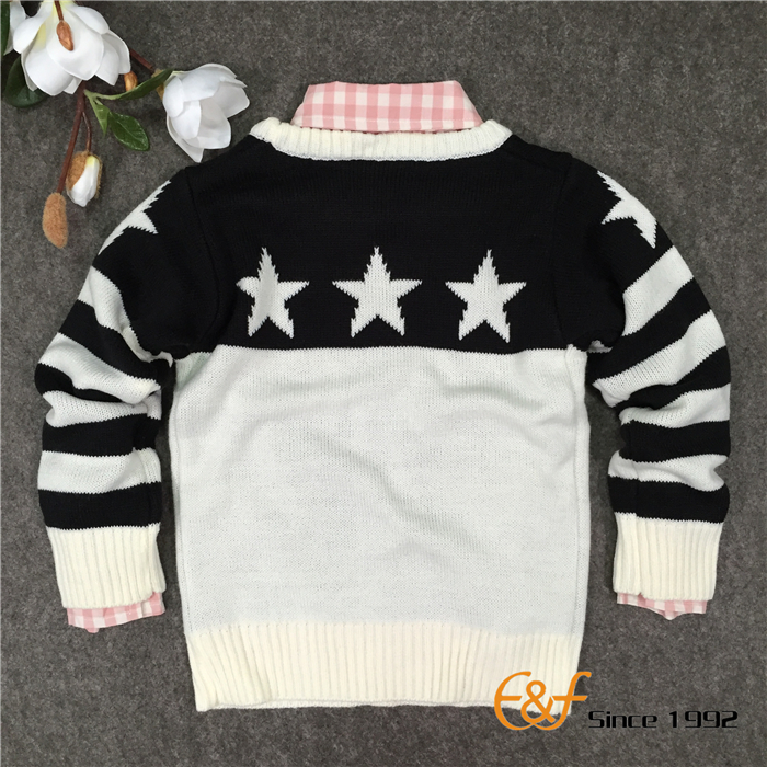 Black-white Color Jacquard Sweater