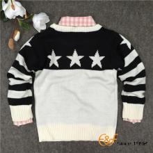 Czarno białe gwiazdy swetry żakardowe