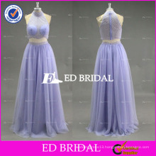 2017 ED Lavender Custom Made Halter Sleeveless Two-Piece Bead Work Tulle Prom Dress