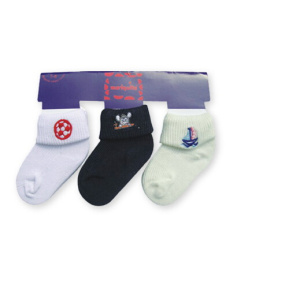 Baby Plain Socks Embroidery LOGO Socks