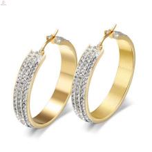 Brinco de cristal claro redondo grande dos brincos do ouro, brincos do huggie da aro do diamante do ouro