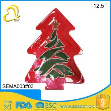 полное печатание этикеты Рождество дерево формы меламина блюдо