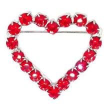 Vente en gros vente chaude rouge mode coeur mariée lettre broche en cristal femmes