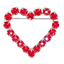 Оптовые продажи горячая красная мода сердце невесты письмо кристалл брошь женщин