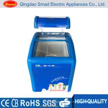 Venta especial del congelador de helado, congelador de pecho aprobado de ETL, congelador de puerta de cristal curvado