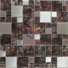 Abstractionism Style Wall Paper Backed Crystal Mix Metal Mosaic (CFM833)