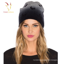 Skull printed cashmere wool knit beanie hat for women