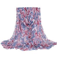 Drapeau britannique de femmes imprimant longue écharpe de châle tissée (SW137)