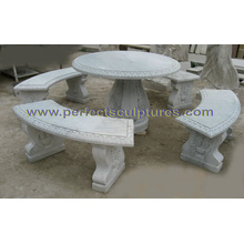 Antique Garden Stone Marble Table Chair for Garden Decoration (QTS016)
