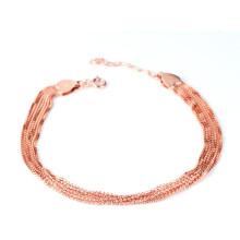 24k золото заполнены стерлингового серебра многорядный ряд короткий шарик браслет цепи индийский стиль