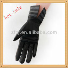 women zebra-stripe leather glove
