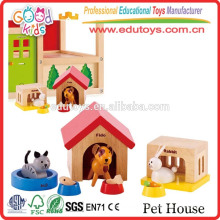 EN71 Conforms Kids Educational Game Pets' Sweet Home Wooden Pet House Toy