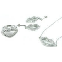 Оптовый серебряный комплект ювелирных изделий женщины AAA CZ 925 серебряный (S3286)