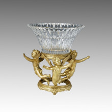 Cristal Vaso Estatua Tres Cupids Escultura De Bronce Tpgp-014