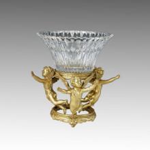 Статуя хрустальной вазы Три купидона Бронзовая скульптура Tpgp-014