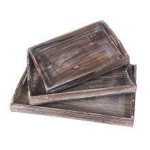 Bandejas de desayuno Bandeja de servir vintage Bandejas de madera auténtica Set de bandejas retro Bandeja de servicio de nidos Bandejas para bandejas con asas
