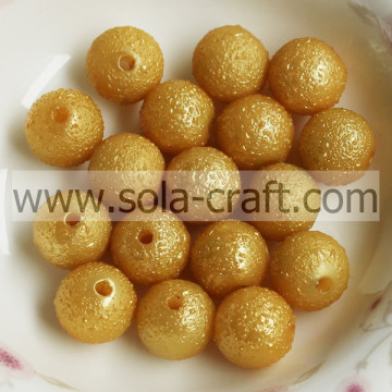 Handmade Acrylic Gold 8MM Loose Wrinkled Imitation Plastic Ball Chandelier Beads