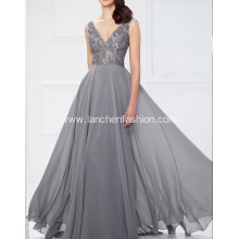 Silver Chiffon V Neck Prom Bridesmaid Dress