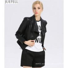 Chaqueta de cuero corta de mujer de cuello de chaqueta de cuero de mujeres