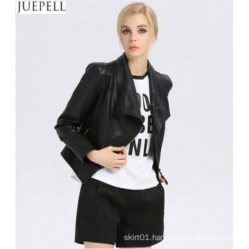 Women Leather Jacket Collar Neck Fashion Women′s Short Leather Jacket