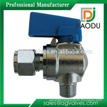Angle Mini Ball Valve with 1/4-Inch Compression x 1/8-Inch Male Iron Pipe Thread Chrome Plated Brass