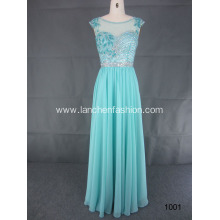 Long Beaded Gown with Illusion Neckline